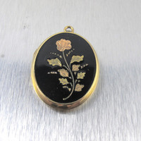 Antique Black Enamel Mourning Locket Necklace Pendant, 10K Tri Color Rose Gold Forget Me Not Flowers, Double Sided Two Picture Photo Locket