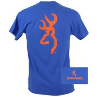 Browning Men's Orange Buckmark Blue Short Sleeve T-Shirt