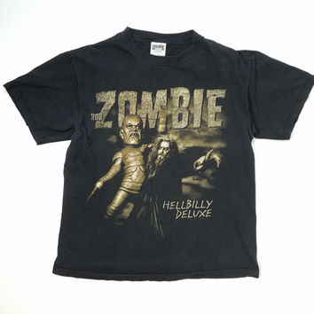 Rob Zombie Vintage T-Shirt Hellbilly Deluxe Shirt 90s Tour Concert Tee Rock N Roll