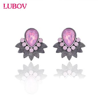 2017 Exotic Acrylic Stone Water Drop Piercing Earrings Metal Bib Design Women Stud Earrings Fashion Jewelry  New Arrival