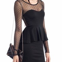 mesh design peplum dress $27.60 in BLACK - Dressy | GoJane.com