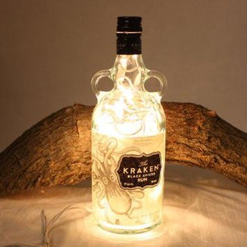Liquor Bottle Light, Upcycled Kraken Liquor Bottle, Decor for Mancave, Bar Lighting