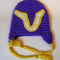 Minnesota Vikings Inspired Crochet Hat 0-3 Month or 3-6 Month Sizes Football Fan Purple Hat with Yellow Braids Newborn Photo Prop
