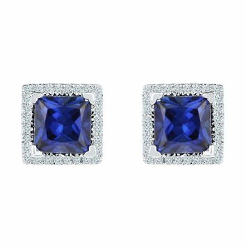 10kt White Gold Women's Princess Lab-Created Blue Sapphire Stud Earrings 2.00 Cttw - FREE Shipping (US/CAN)