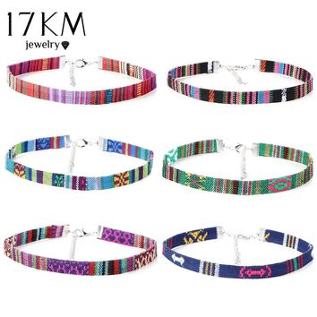 17KM 6 PCS/Set Printed Fabric Choker Necklaces Set for Women Steampunk Collar Necklace Jewelry Gothic Tattoo Collier Femme 2017