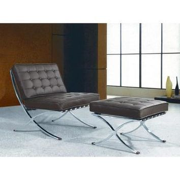 "VIG Bellatrix Modern Leather ""X"" Leg Chair And Ottoman Lounge Set In Espresso"