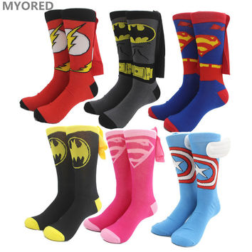 MYORED Superman captain america Batman Cape Socks cosplay party team crew sock for men women children kids knee high sox dancing