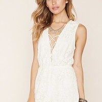 Floral Lace Lace-Up Romper