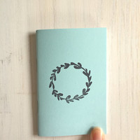 Small Notebook: Wreath, Blue, Stocking Stuffer, Stocking Stuffers, Favor, Fun, Unique, For Her, For Him, Gift, Journal, Notebook, QQ633
