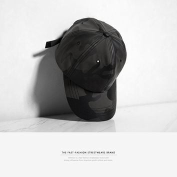 Artificial Leather Camouflage Baseball Cap Swag Snapback Desert Camo Hat For Men Cap Hip Hop Cap Black Camo