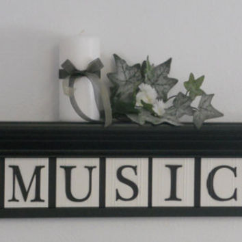 "Personalized Family Names and Signs 30"" Shelf with 7 Wooden Letter Tiles Painted Black and White MUSIC and Musical Notes"