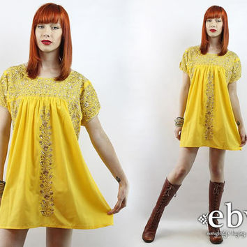 Vintage 70s Yellow Embroidered Tunic Mini Dress S M L Yellow Mexican Dress Embroidered Dress Hippie Dress Festival Dress Summer Dress