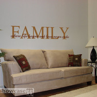 Family, where life begins and love never ends - Vinyl Wall Art - FREE Shipping - Fun Family Wall Decal