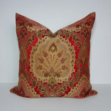 Red, Gold, Olive Green Designer Pillow Cover, Fabric Made in India, Pillow Cushion, Euro Pillow, Sham, 22 x 22