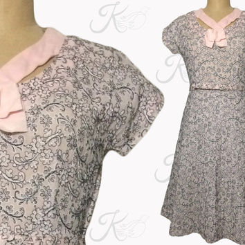 Vintage 50s Dress, 1950s Dress, Day Dress, Fifties Dress, Floral Dress, Large Dress, Medium Dress, Pink Dress, Embroidered Dress