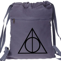Harry Potter Backpack Deathly Hallows Canvas Drawstring Bag