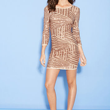 FOREVER 21 Sequined Abstract Pattern Dress Blush/Rose Gold