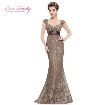 Ever-Pretty Elegant Peach Collar Long Evening Party Dresses Women Empire Mermaid Dress Prom Gowns V-neck Evening Gown EP08798CF