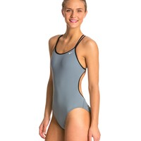SwimOutlet Exclusive Nike Swim Solid Poly Spiderback Swimsuit at SwimOutlet.com - Free Shipping