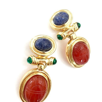 Scarab Gold Tone Dangle Earrings, Egyptian Revival Design, Lapis Carnelian and Emerald Glass Cabochons, Glass Lapis and Carnelian Scarabs