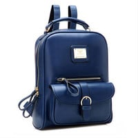 Fashion Vintage Black PU Leather Backpacks For Women Preppy Bookbag New Cheap