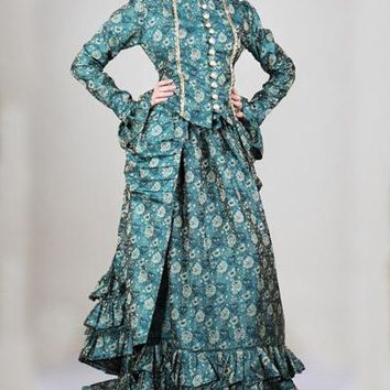 Green Gold Brocade Ruffle Steampunk Dutchess Dress Ensemble Womens Outfit