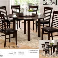 A.M.B. Furniture & Design :: Dining room furniture :: Small Dinette Sets :: Espresso Finish sets :: 7 pc Olivia collection round espresso finish wood dining table set slatted back chairs with leather like vinyl seats