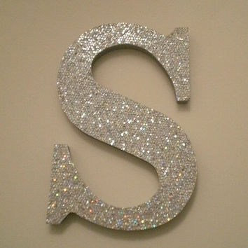 SILVER GLITTER LETTERS - Sparkling Silver Glitter Wall Letters, Initials or Words
