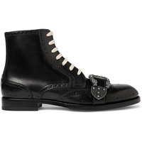 Gucci - Embellished Leather Brogue Boots