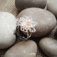 Flower Ring Crocheted in Silver Plated Wire with Pink Freshwater Pearl READY to SHIP