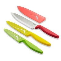 Kuhn Rikon Colori Cutlery Set - Chef's Knife, Parer & Serrated Utility Knife 3 Pieces Red/Yellow/Green - Free shipping over $100