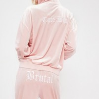 Missguided - Galore Pink Velour Printed Hooded Jacket