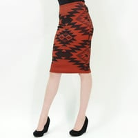 Tribal print rust color mid length stretch pencil knit skirt
