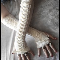 Porcelain Maiden Victorian Corset Laced Up Arm Warmers - Pale Ivory Lace & Ribbon - Vampire Gothic Tribal Goth Lolita Burlesque Bridal Cream