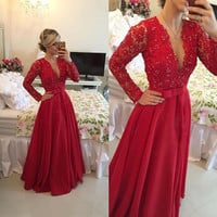 V-Neck Prom Dress,Red Prom Dresses,Long Evening Dress