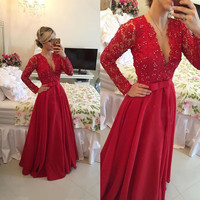 75706072a74 Swept Away Burgundy Long Sleeve Maxi Dress. V-Neck Prom Dress
