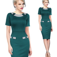 Green Striped Short Sleeve Bodycon Midi Dress