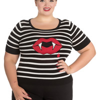 Hell Bunny Black & White Stripe Short Sleeve Vampire Lips Stretch Knit Top