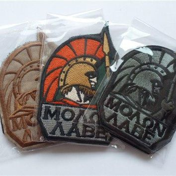 MOLON LABE PATCH  Spartan Spartacus morale ARMY  military combat patches  tactical  HOOK back AIRSOFT  for vest coat