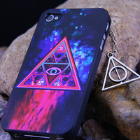 Galaxy iphone 4S/4 Case ,Cover for iphone 4S with Harry Potter HP Dealthy Hallow Anit-Dust Plug