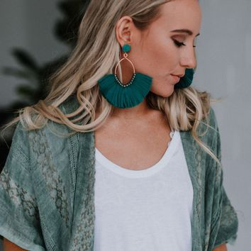 Island Vibes Oversized Fan Earrings - Teal