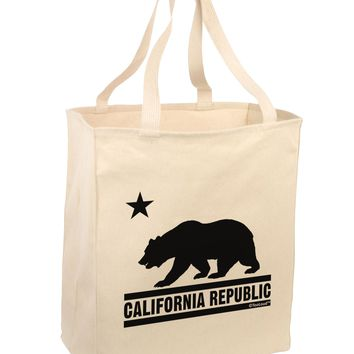 California Republic Design - Cali Bear Large Grocery Tote Bag by TooLoud