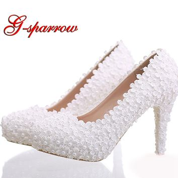 White Lace Bridal Shoes Stiletto Heel Women Shoes Beautiful Bridesmaid Shoes Birthday Party Pumps Free Shipping Ceremony Shoes