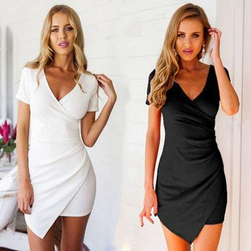 DCCK7XP Black V Neck Short Sleeve Asymmetrical Bodycon Wrap Mini Dress