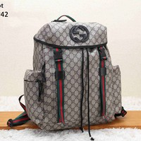 GUCCI Tide brand men and women retro double G printing large capacity travel bag backpack apricot