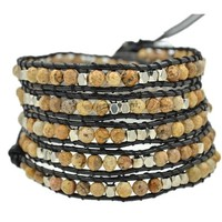 MJartoria Beige Silver Color Faceted Cut Beads on Black Leather 5x Wrap Bracelet with Adjustable Closures