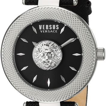 Versus by Versace Women's 'BRICK LANE' Quartz Stainless Steel and Leather Casual Watch, Color:Black (Model: VSP212117)