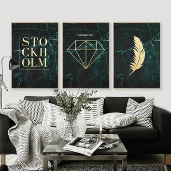 Vintage Poster Gold Diamond Canvas Painting Feather Posters Wall Art Canvas Nordic Wall Pictures For Living Room Retro Unframed