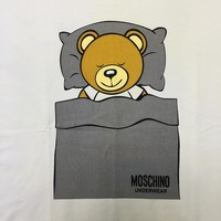 "Moschino Grey ""Bunting Bear"" Fashion Women T Shirt"