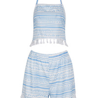 Blue Halter Tribal Stripe Print Tassel Trim Co-ord